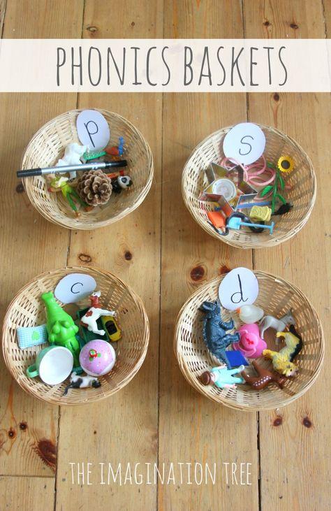 Phonics activity using sorting baskets