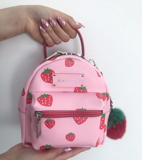Strawberries mini Zippy backpack by Grafea Cute Mini Backpacks, Trendy Backpacks, Girl Backpacks, Cute Purses, Purses And Bags, Fashion Bags, Fashion Backpack, Kawaii Bags, Accessoires Iphone