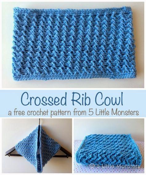 Crossed Rib Cowl: A Free Crochet Pattern from Five Little Monsters #crochet #free pattern