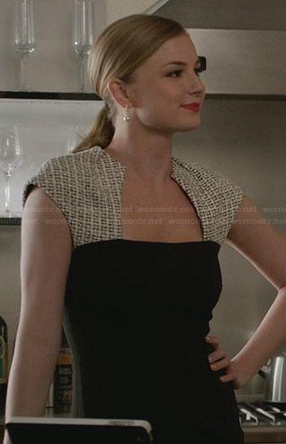 Emily's black dress with cream patterned shoulders on Revenge.  Outfit Details: http://wornontv.net/29767/ #Revenge