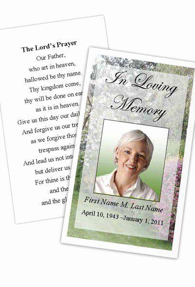 Prayer Card Template Free Fresh Memorial Prayer Card Spring Garden Template Card Templates Free Card Templates Card Template
