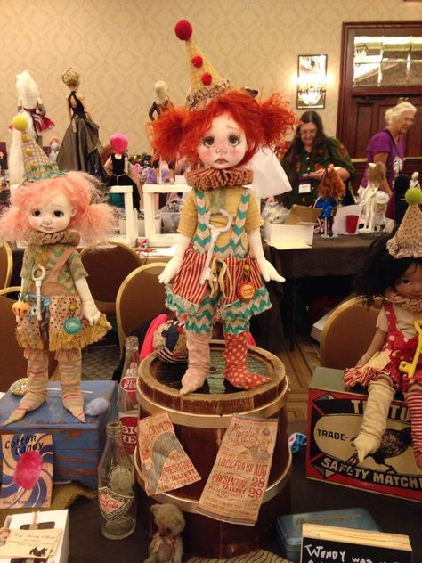 Nikki Britt Studio's MSD BJDs Pepper Annie, Wendy Weird & tan Pepper Annie as clowns  at BJDC 2014 Austin, TX.  Clown outfits by Sweet Creations, aged by Nikki.