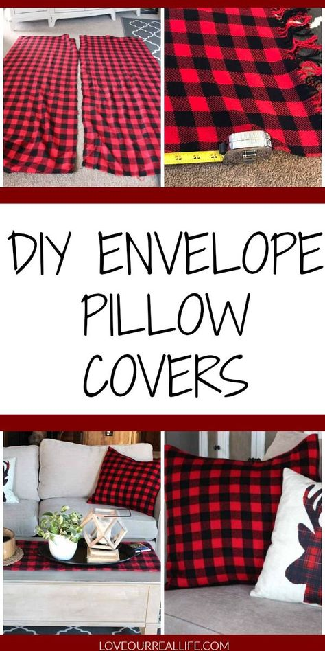 DIY Envelope Pillow Covers : Super simple and FAST beginning sew project. Make these cute pillow covers in no time with basic sewing skills. I transformed an inexpensive buffalo plaid blanket to save on fabric cost. Cute Pillows, Diy Pillows, Cushions, Sewing Basics, Basic Sewing, Sewing Tips, Envelope Diy, No Sew Pillow Covers, Fabric Crafts