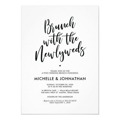 Perfect Calligraphy Post Wedding Brunch Invites