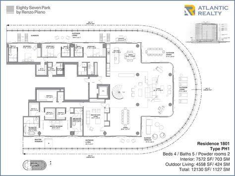New Miami Residences Eighty Seven Park Penthouse Floor Plan Renzo Piano Penthouse Apartment Floor Plan Floor Plan Design