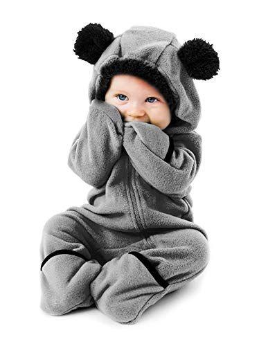 BearBlack//White18-24m Cuddle Club Funzies Baby Bunting Fleece Hooded Romper Bodysuit