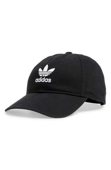 Be prepared for the sun in this sporty cap embroidered at the front and back with crisp logos. Style Name:Adidas Trefoil Baseball Cap. Style Number: Available in stores. Adidas Baseball Cap, Baseball Cap Outfit, Adidas Cap, Black Baseball Cap, Cute Baseball Hats, Baseball Pants, Bone Da Adidas, Your Id Store, Cute Hats