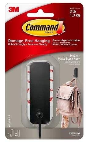 Command Medium Sized Hook 1 Hook 2 Strips Matte Black Black Hook Decorative Hooks Matte Black