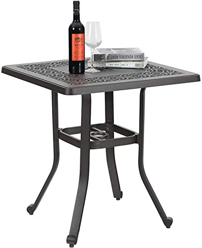 New Phi Villa Balcony Garden Patio Bistro Table 27 5 Square Cast Aluminum Umbrella Hole Frosted Surface Online Findandbuytopstyle In 2020 Square Dining Tables Table Umbrella Bistro Dining Table