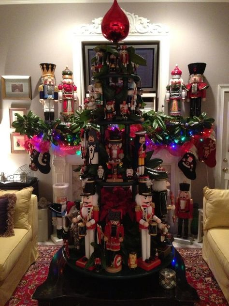 Christmas 2012. Our idea carried out for displaying the nutcracker collection.  Note the 36