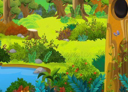 Bosque De Dibujos Animados Escena De Cuentos De Hadas Diferentes Cartoon Background Fairy Tales Scene
