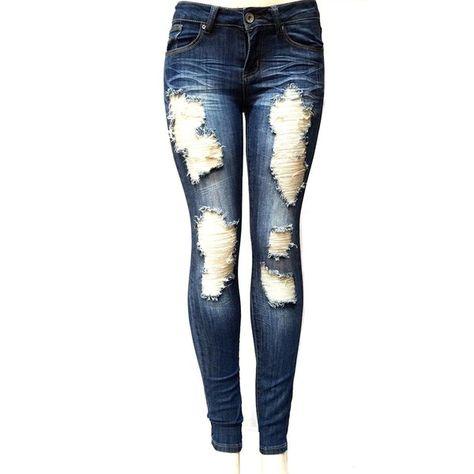4f87ff2b6ef22 ETERNO Juniors WOMENS BLUE Denim JEANS Destroy Skinny Ripped... ( 20 ...
