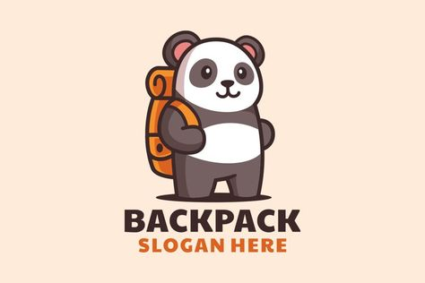 Cartoon Standing Panda with Backpack Logo Design (1346105) | Logos | Design Bundles