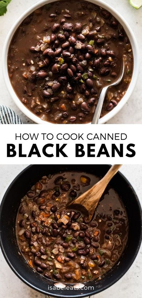 An easy way to cook and season canned black beans to make a delicious and healthy side dish in no time! Serve with Mexican and Tex-Mex favorites like tacos, enchiladas and burritos. recipe sides How to Cook Canned Black Beans - Isabel Eats Canned Beans Recipe, Mexican Beans Recipe, Mexican Black Beans, Veggie Recipes, Mexican Food Recipes, Cooking Recipes, Recipes With Beans Healthy, Healthy Beans, Beans Recipes