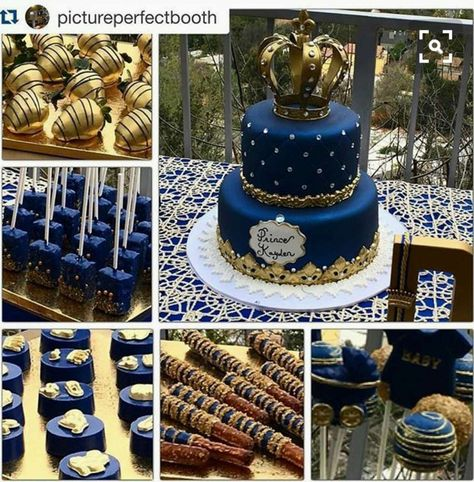 ・ Gold Chocolate Covered Strawberries, Royal Blue & Gold Rice Krispie Treats, Oreos, Pretzels and Cake Pops all done by Alice did an amazing job and her customer service is outstanding.That gorgeous, amazing cake done by Prince themed Baby Shower for Shower Party, Baby Shower Parties, Baby Shower Themes, Baby Shower Decorations, Shower Ideas, Balloon Decorations, Shower Favors, Shower Invitations, Prince Cake
