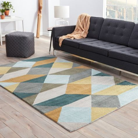 Velour Rug In Grey Yellow Yellow Area Rugs Area Rugs Blue Area