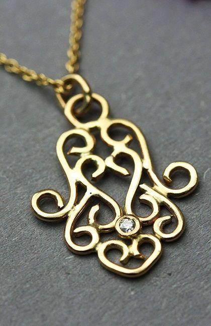 14k Yellow Gold Filigree Hamsa Hand of Fatima Charm Pendant Necklace
