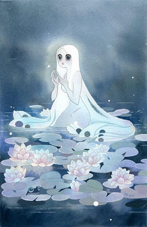 Pond, an art print by Riikka Auvinen Pretty Art, Cute Art, Art Sketches, Art Drawings, Drawn Art, Mermaid Art, Character Design Inspiration, Monster, Art Plastique