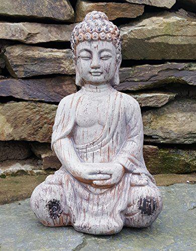 Bouddha Assis En Ceramique Effet Drift En Bois Jardin Exterieur