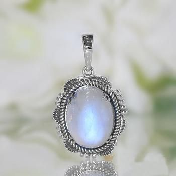 Moonstone Pendant Bohemian Jewelry Crystal Necklace Boho Man in the Moon Celestial Jewelry Crescent Moon Pendant Moonstone Necklace