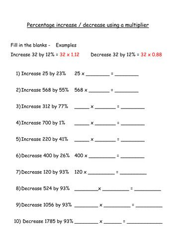 Percentage Increase And Decrease Using A Multiplier Fill In The Blanks By Jenitta Teaching Re In 2020 Word Problem Worksheets Worksheets Percentages Math