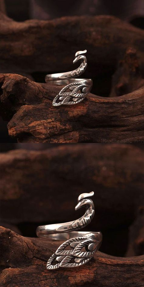 Folk Style Peacock Open Ring Original Silver Phoenix Ring for big sale! #silver #ring #folk #peacock