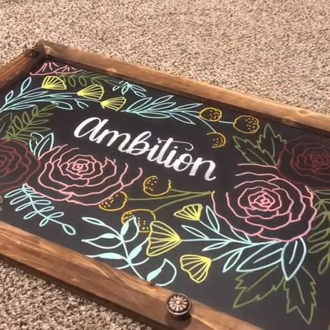 """What does the word """"ambition"""" mean to you? Sometimes a little #inspiration and a hint of motivation can give you the creative boost you're looking for. See what kind of original #chalk art you can develop with #Arteza Liquid Chalk Markers! Artist Credit: @sarahstyledesigns"""