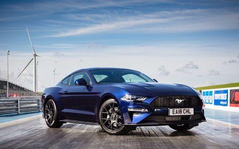 Wallpaper Ford Mustang Ecoboost Fastback Sports Car Dark Blue