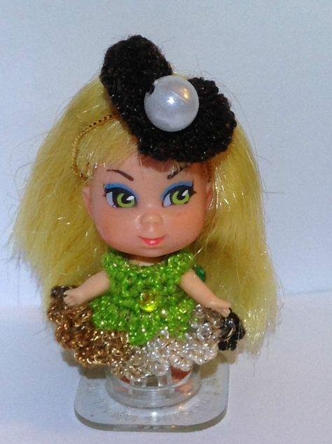 "Handmade crochet kiddle clothes fit vintage Mattel 2/"" LIDDLE KIDDLE DOLL"