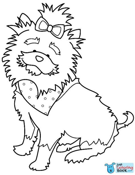 Funny Yorkshire Terrier With Bandana Coloring Page Free Printable