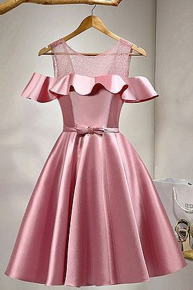 Pink Satin Short Off Shoulder Bowknot Prom Dress Lace Homecoming