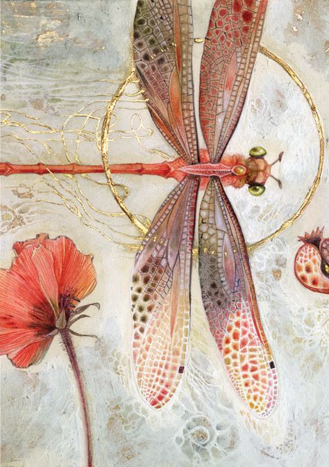 insects Stephanie Law - watercolor painter, botanical illustrator and artist of fantastical dreamworld imagery. Silk Painting, Painting & Drawing, Painting Inspiration, Art Inspo, Motifs Art Nouveau, Illustration Photo, Dragonfly Illustration, Botanical Illustration, Dragonfly Art