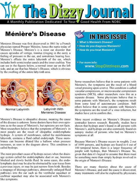 "National Dizzy & Balance Center ""Dizzy Journal"" on Menieres Disease"