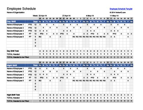 Download Employee Schedule Template Excel Excel Project - shift schedule template