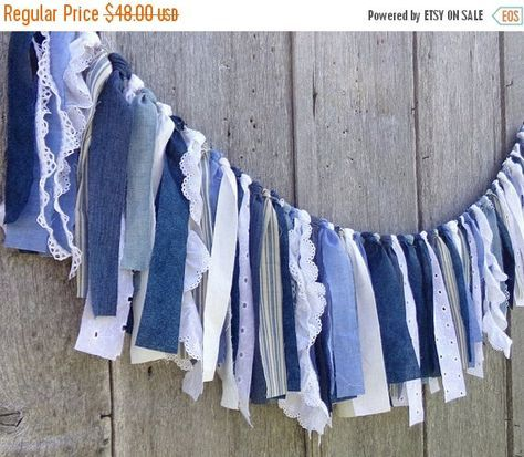 Denim Wedding Garland 4 Ft Rustic Boho By Alteredecodesigns