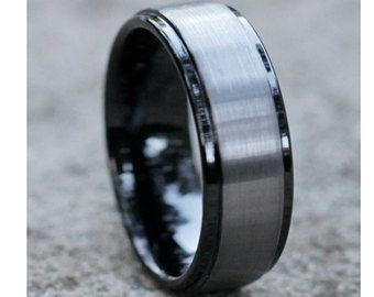 Black Tungsten Ring Men Women Tungsten Carbide Ring Black