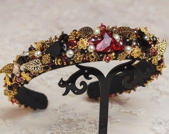 Black gold jewelled headband for women Red embellished Baroque headband Beaded Tiara Dolce jeweled headband Gothic wedding hair accessories