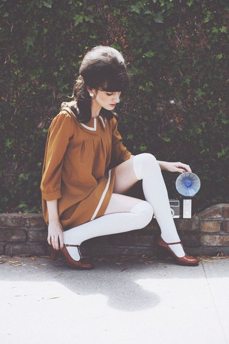 camel tan peter pan collar dress, white tights and mary jane heels Oh Dear @Dear Creatures | finchandfawn.com