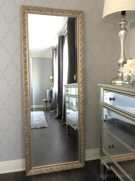 Bella Ornate Embossed Wood Silver Gold Framed Leaner Floor Mirror