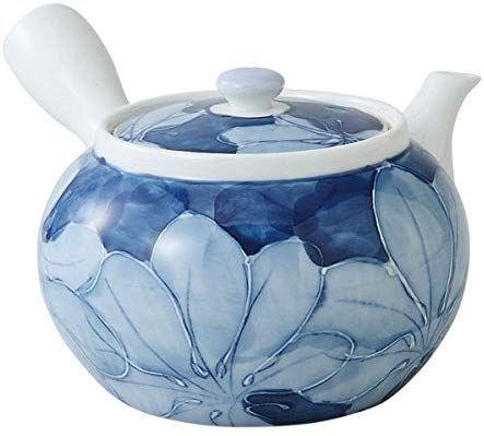saikai pottery Kyusu Medium Japanese teapot Blue flower pattern 99184 from Japan