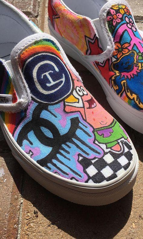 Custom girls vans or converse hand painted sneakers
