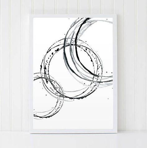 Brush Line print. Abstract Minimalist Watercolour. Contemporary Artwork. Black Modern Decor. Circle Interior Idea. Printable Scandi Poster