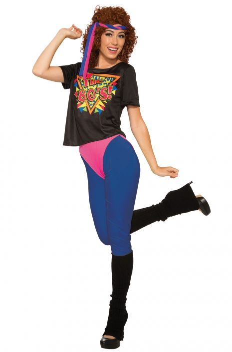 LADIES 1980s WORK OUT COSTUME WOMENS BRIGHT NEON COLOURED FANCY DRESS JUMPSUIT