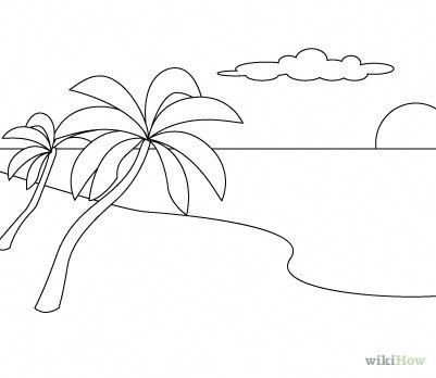 Drawing A Simple Beach Scene Google Search Beach Drawing Beach Scene Pictures Beach Scenes