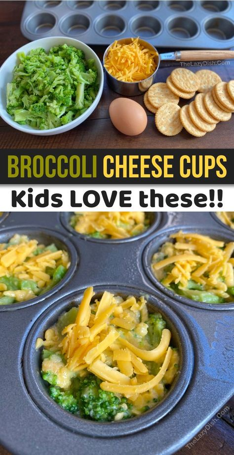 Broccoli Cheese Cups (A quick, easy & healthy snack idea for kids!Snacks - Broccoli Cheese Cups (A quick, easy & healthy snack idea for kids! Baby Food Recipes, Recipes Dinner, Kids Cooking Recipes Easy, Simple Snack Recipes, Healthy Recipes For Toddlers, Simple Recipes For Kids, Quick Food Ideas, Lunch Recipes, Quick Easy Lunch Ideas