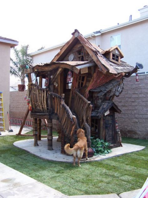 Kimberly Peterson Barton > This is cool. The kids get their first house! Does this mean that the parents are off the hook for coming up with the down payment for their first adult house? Kids playhouse custom designed by Daniels Woodland.