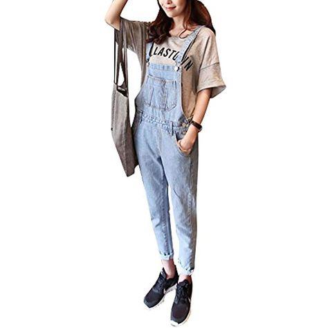 Salopette strappata lunga in jeans Donna