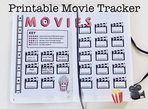 Movie Tracker Bullet Journal Printable, 2 Printable Pages | Created by cutandpasteBUJO Includes one PDF with 2 pages of the movie tracker. The movie tracker has 23 spaces to review movies with a 5-star rating section to fill out. You can print this design at any size that suits your bullet journal or planner.