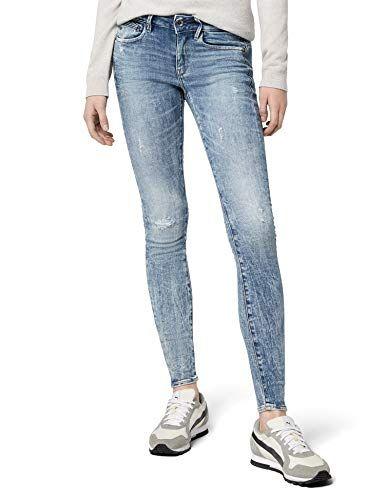 G STAR RAW Damen Skinny Jeans Midge Zip Mid Wmn Blau (Lt