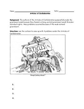 Articles of Confederation Political Cartoon Worksheet with ...